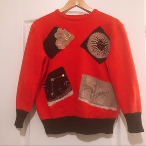 Italian vintage wool angora red sweater